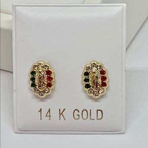 Real 14k Gold Stud Earrings Virgin Mary